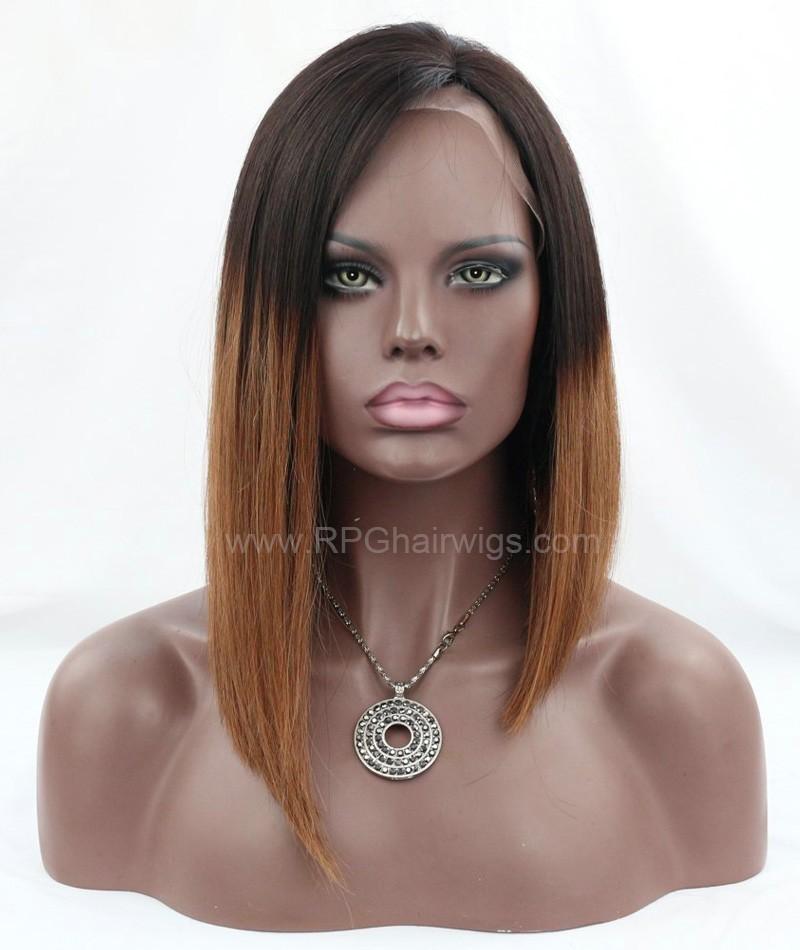 7A Brazilian Virgin Human Hair Short Bob Lace Wigs for Black Women Straight Bob Cut Wigs  Ombre Color