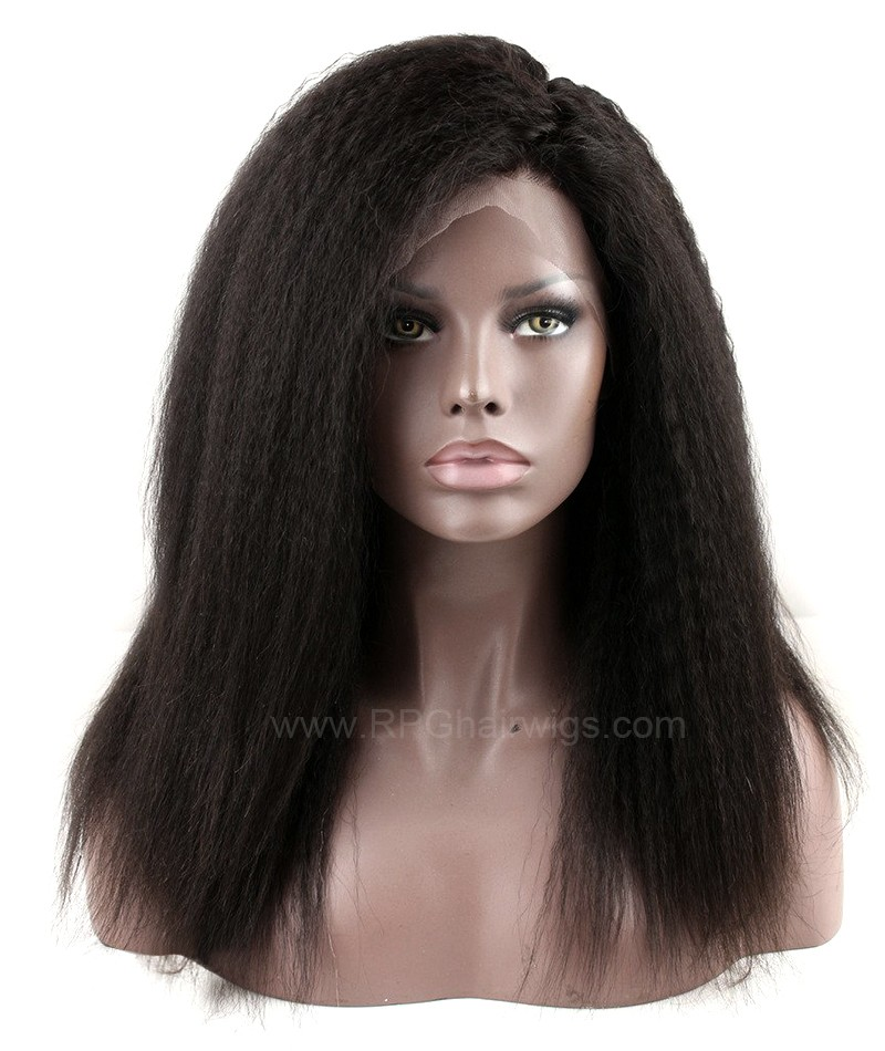 Kinky Straight Indian Remy Human Hair Full Lace Wigs For Black Woman