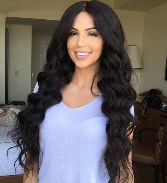 Indian Remy Hair Glueless Full Lace Wigs Big Body Wave Natural Color