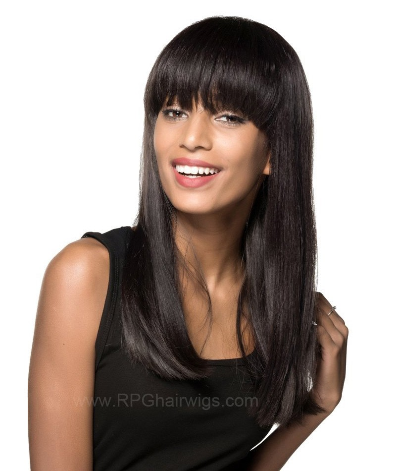 Full Bangs Natural Straight Glueless Silk Top Non-Lace Machine Made Wig Natural Black Indian Remy Hair On Sale