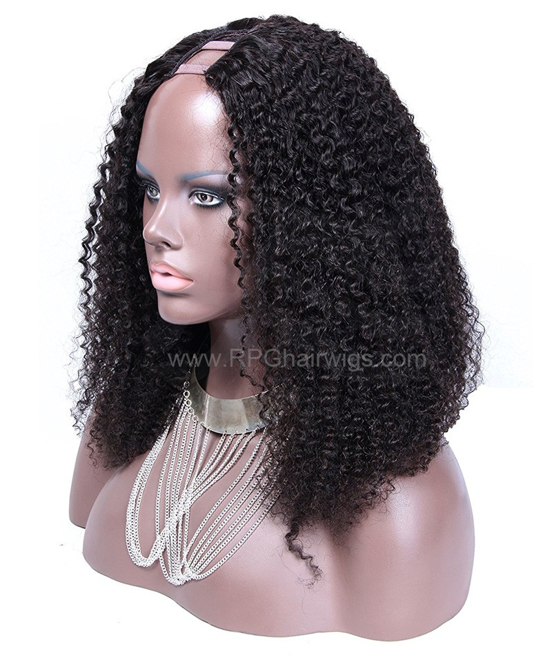 Afro curl U Part Wig Natural Color Gluless U Part Human Hair Wigs For Women
