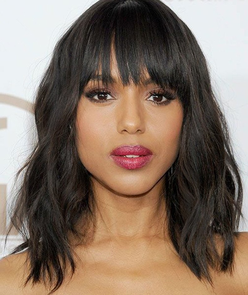 Natural Short Human Hair Wig With Bangs Glueless Full Lace Front Wigs Indian Short Bob Loose Wave Lace Front Wigs For Black Woman