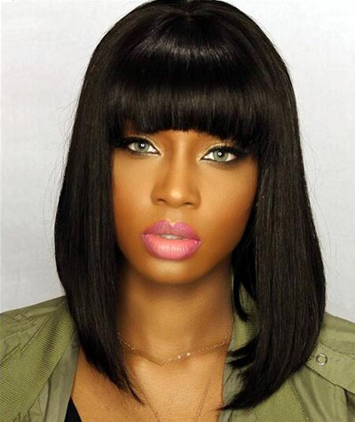 Short Bob Wigs with Full Bangs Natural Straight Glueless Silk Top Non-Lace Machine Made Wig Natural Black Indian Remy Hair