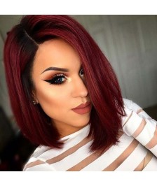 Hot Red Bob Style Brazilian #99J Auburn Hair Color Lace Wig