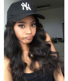 Indian Remy Hair Glueless Full Lace Wigs Body Wave Natural Color