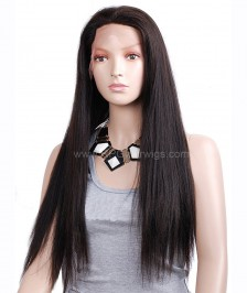 Light Yaki Straight Virgin Brazilian Remy Human Hair Glueless Full Lace Wigs High Quality