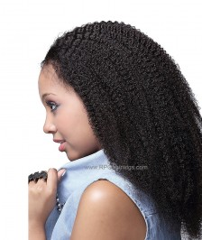 Afro Curl Virgin Indian Remy Human Hair Glueless Full Lace Wigs Natural Color