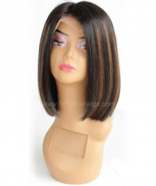 Short Bob Human Hair Lace Front Wigs Brazilian Virgin Glueless Silk Straight Hair Wigs for Black Women Highlight Color