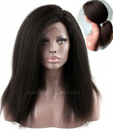 New 360 Lace Wig Heavy Density Indian Remy Human Hair Kinky Straight