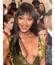 Naomi Campbell Inspired Straight With Bangs Indian 150% Thick Density Virgin Human Hair Lace Wigs