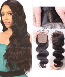 Body Wave Closure Indian Remy Hair 4x4 Bleached Knots Middle/Free Part Lace Closures