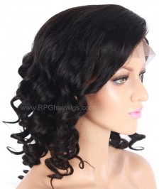 Wavy Lace Front Wigs Indian Remy Hair Natural Black
