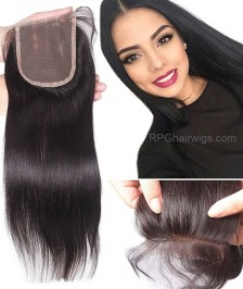 Indian Remy Hair Straight Closure 4x4 Bleached Knots Middle/Free Part Lace Closures