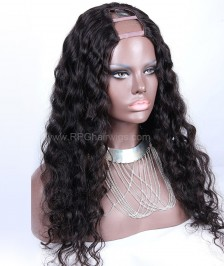 Deep Wave U Part Wig Natural Color Gluless U Part Human Hair Wigs For Women