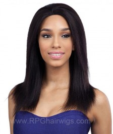Light Yaki Straight Virgin Brazilian Remy Human Hair Glueless Lace Front Wigs High Quality