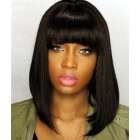Short Bob Wigs with Full Bangs Natural Straight Glueless Silk Top Non-Lace Machine Made Wig Natural Black Indian Remy Hair  [IMCS02]